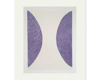 Screenprint, abstract, minimal. Handmade original purple, grey print on quality paper. Simple, modern, fine art printmaking by Emma Lawrensn