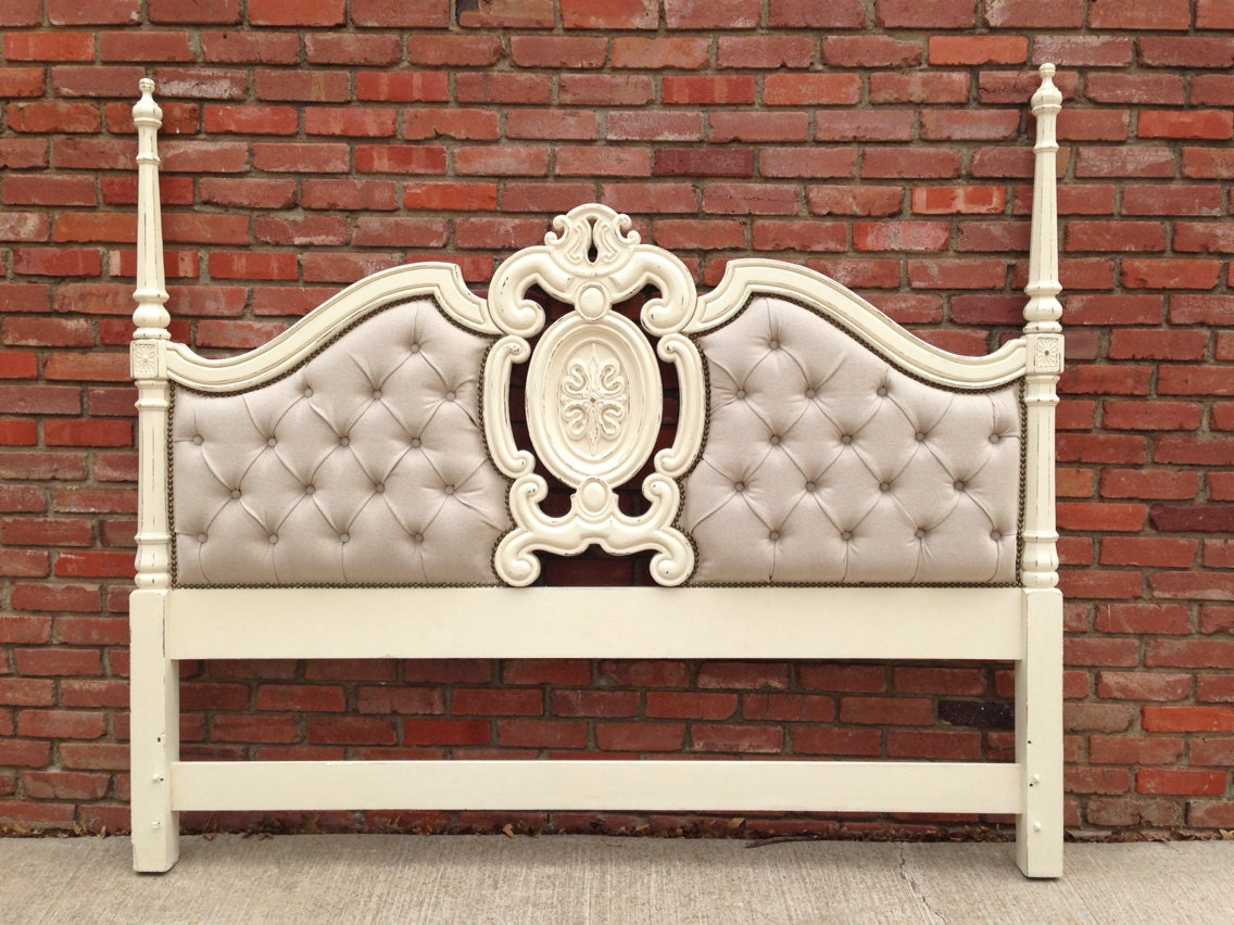 King Headboard Vintage French Tufted Nailhead Cottage White