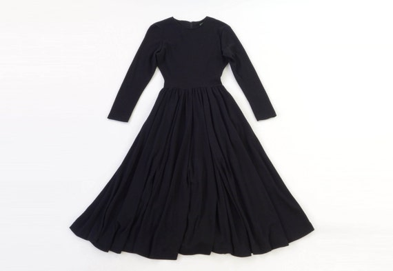 Black Dress 90s Long Sleeve Full Skirt Medium