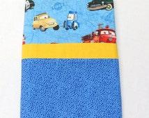 Boys Pillowcase Blue Standard Pillowcase Cars Pillowcase Handmade Pillowcase
