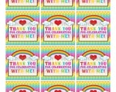 DIY Printable Chevron  Rainbow Favor Tags INSTANT DOWNLOAD