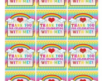DIY Printable Chevron  Rainbow Favor Tags INSTANT DOWNLOAD