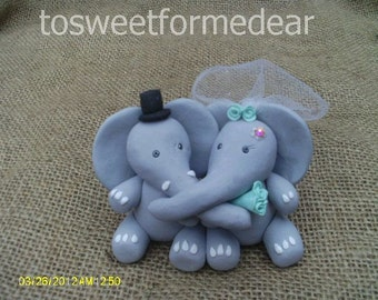 Elephants bride and groom wedding cake topper