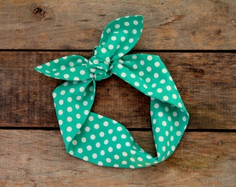 green and white polka dot headscarf, retro tie up headband adjustable, summer fall fashion, knotted headband, stocking stuffer