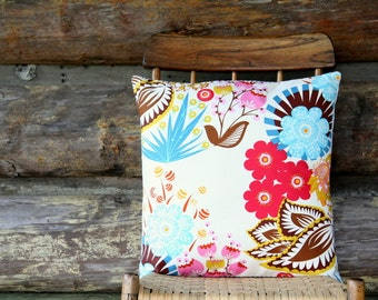 """floral decorative throw pillow cover / red brown teal pink / 18"""" x 18""""  / blue and cream ticking / reversible / dorm decor / fall home decor"""