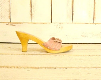 Pink leather open toe wooden high heel vintage clogs/leather wooden mule sandals/9.5-10