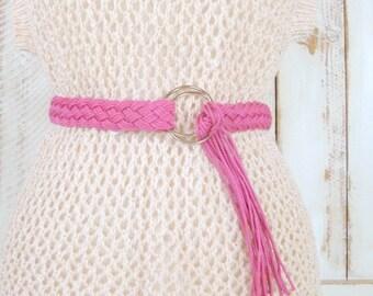 Vintage pink cotton woven rope fringe boho/hippie belt/braided festival belt