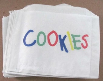 """25 Small / Medium White Paper Cookie Bags - 5 1/2 X 4 x 1"""" - Gusseted - Rainbow Printed - Food Safe - 5.5"""" - Bake Sale Treat Packaging Bags"""