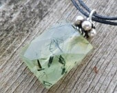 Prehnite Neklace. Green Rutilated Prehnite And Bali  Silver Necklace. Faceted Stone. Prehnite Properties. Pendant. Mineral Necklace.