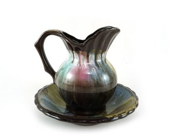 Vintage pastel drip glaze clay pitcher and plate