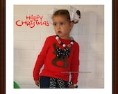 Reindeer Shirt ... Infant toddler youth girl sizes ... Cute Red Reindeer Shirt for Girl