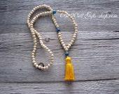 Blue Jasper Mala,108 Bead Meditation Mala, Yoga Jewelry, Tassel mala