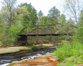 Landscape Nature of Old Rusty Bridge with Water Stream Wall Art Home Decor Photo Print Fine Art Photography