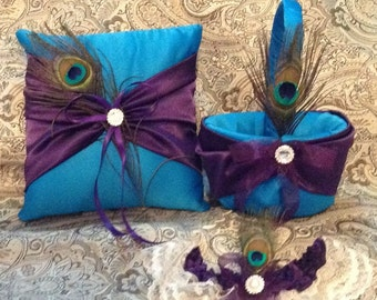 plum purple and teal turquoise custom made flower girl basket pillow and a garter