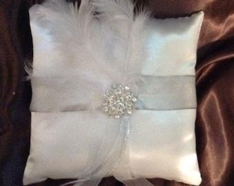Ring bearer pillow custom made white  satin