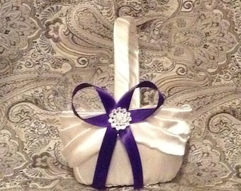 wedding flower girl basket ivory or white color custom made with Purple ribbon