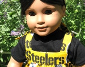 Steelers Sports Sundress and Black T shirt for American girl or any 18 inch doll