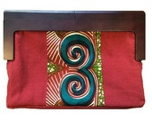Wood frame clutch/purse/African fabric