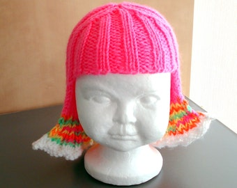 Baby Size Bright Pink Hat Hair Knit Wig Baby Wig Easter Hat