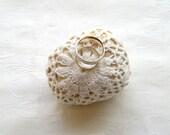 Natural Wedding Favors Inspirational  Decor, Shabby chic Decor, Ring Bearer Pillow Alternative, Romantic Decor, Crochet Lace Stone.