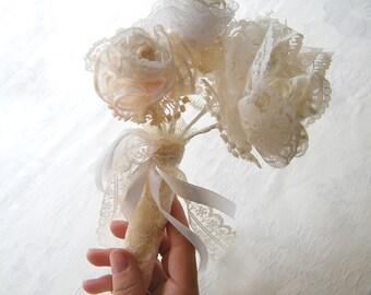 Lace Bouquet, Burlap  lace flowers, Bridesmaid bouquet,  Bridal garland  Crochet  Lace vintage , Wedding flowers bouquet.