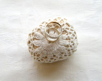 Natural Wedding Favors Inspirational  Decor, Shabby chic Decor, Ring Bearer Pillow Alternative, Romantic Decor, Crochet Lace Stone.