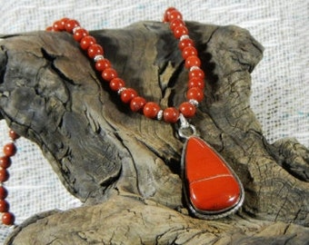 """Red River jasper pendant necklace 19"""" long tear drop pendant semiprecious stone jewelry packaged in a colorful gift bag 10477"""