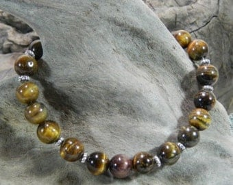 """Brown tigers eye bracelet 7.5"""" long magnetic clasp semiprecious stone jewelry packaged in a colorful gift bag 861A"""