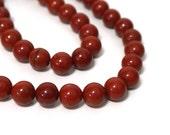 Red Jasper beads, 10mm round bead, FULL strand (808S)