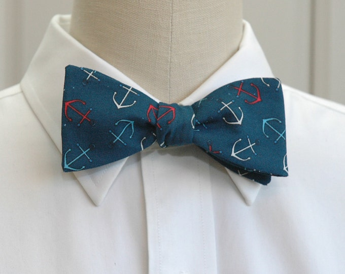 Men's Bow Tie teal with anchors, nautical bow tie, sailor gift bow tie, sailor's wedding bow tie, ocean bow tie, self tie, marine bow tie