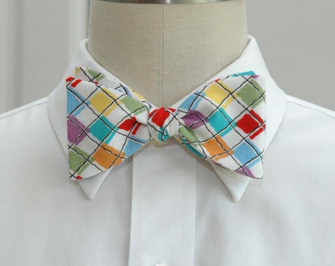 Men's Bow Tie,  argyle multi color print, Scottish bow tie, wedding bow tie, groom bow tie, classic bow tie, groomsmen gift, check bow tie,