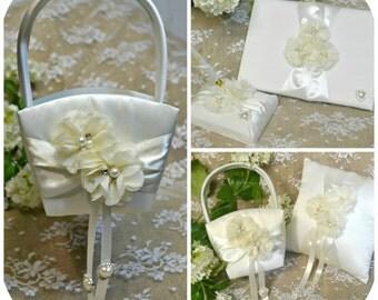 Complete Wedding Set - Ring Bearer Pillow , Guest Book and Pen , Flower Girl Basket , Wedding Day , Classic Wedding