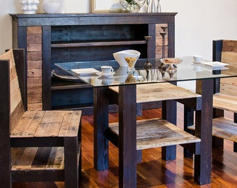 Morgan 4 foot parsons table with wooden top