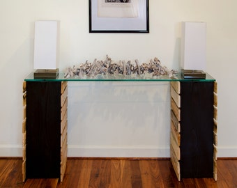 5 foot reclaimed planked console with glass top