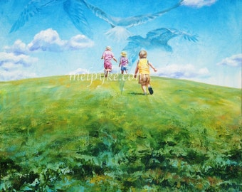 Freedom (Original painting of 3 children running up a hill)