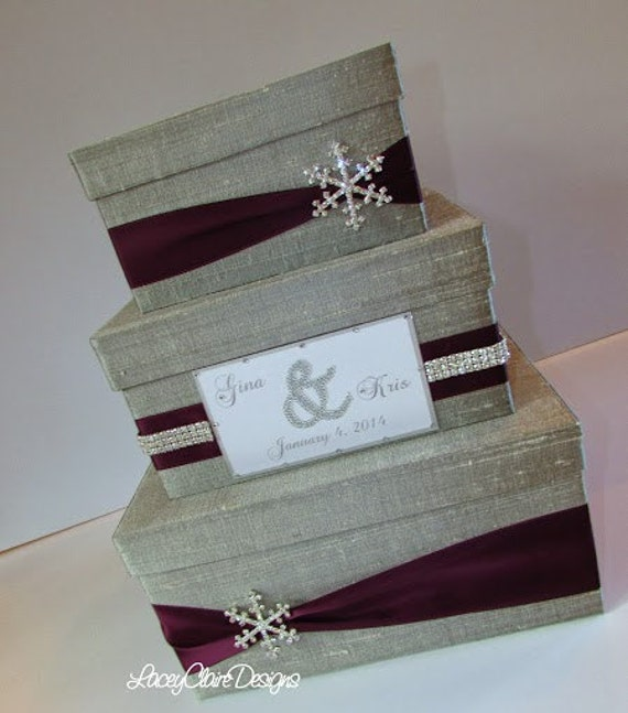 Winter Wedding Gift Card Box : Wedding Card Box Winter Wedding Reception by LaceyClaireDesigns