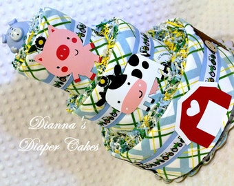 Country Farming Baby Diaper Cake Tractors Shower Centerpiece