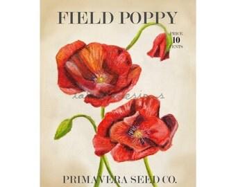 Garden Art - Poppy Art - Garden Decor - Botanical Art - Spring Decor - Farmhouse Art - Gift for Gardener - Spring Art - Poppy Decor - Spring
