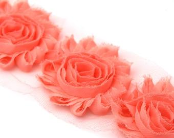 "Peach Shabby  Rose Trim - Shabby Chiffon Rosettes  - 2 1/2""  - Wholesale  Shabby Flower Trim  - Chiffon Flowers"