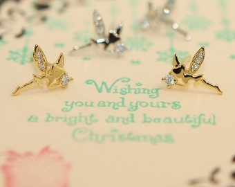 Cute Mini Tinkerbell Stud Earrings For Kids Adults Gift Cute Style  Jewelry Bridal Everyday Jewelry