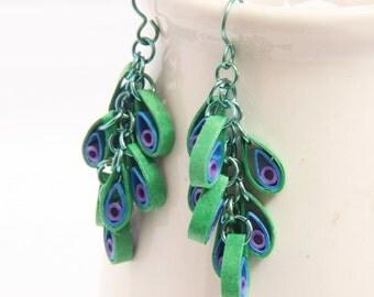CIJ 30% off SALE Peacock Dangle Chain Eco Friendly Earrings  Cluster Modern Paper Jewelry Niobium Earrings  Artisan Jewelry hypoallergenic
