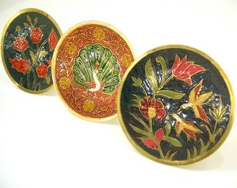 3 Brass plates, easel stands for mantle shelf dresser buffet, handpainted enamel cheerful flowers humming birds peacock gold blue red green