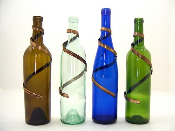Wine bottle brass metal art vase decoration for wedding floral for Wine bottle flower vase