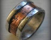 mens wedding band - rustic fine silver and 14K rose gold - handmade hammered artisan designed wide band ring - manly ring - customized