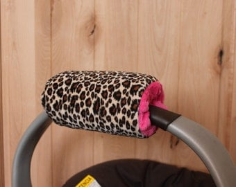 Infant Car Seat Padded Handle Cover, minky padded handle cover, reversiblen padded handle cover,  Cheetah Minky handle cover