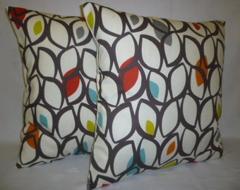 """PAIR Orange Throw Pillows Cushion Covers 4 CHOICES Mix Match Designer Blue Green Red Accent Shams Slips Scatter PAIR 16"""" (40cm)"""