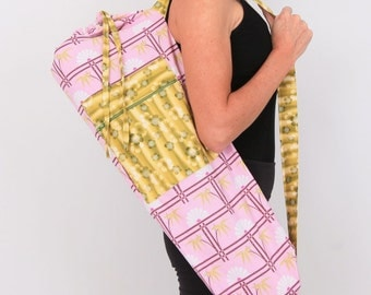 Yoga Bag in Asian Bamboo Pink Fan with a Zipper Pocket- Closeout Sale Free Shipping