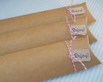Kraft Pillow Box - Qty 10 - Treat Tube - 2x7 - Pillow box - Treat Packaging - Long Pillow Box - Kraft Box