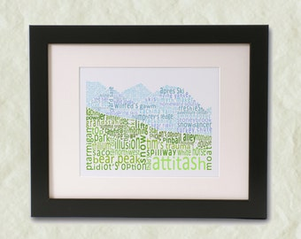 Attitash Ski Area Word Art Print