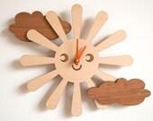 Wooden Happy Sun Clock Kids Nursery Clock Sun Room Decor